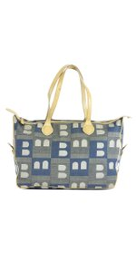 Bally Blue & Cream Canvas Tote