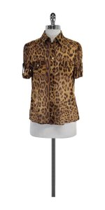 Dolce&Gabbana Brown Leopard Print Cotton Top