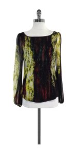 Catherine Malandrino Multi Color Abstract Print Silk Top