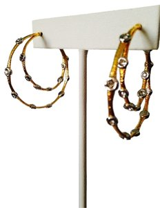 Alexis Bittar Elements Gilded Muse D'Ore Crystal Lace Double Hoop Earrings