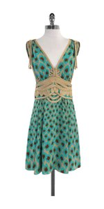 Nanette Lepore short dress Teal Brown Tan Silk on Tradesy