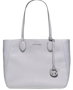 Michael Kors Mae Reversible Leather Gray Tote in Dove / Lilac