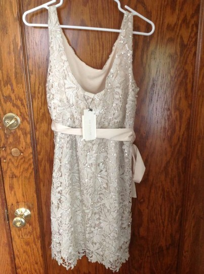 MM Couture Ivory Lace and Satin Scoop For Rehearsal Or Casual Wedding Dress Size 6 (S)