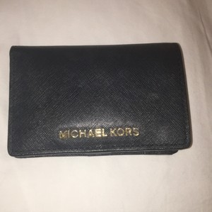 Michael Kors Leather Wallet Saffiano Leather Black Clutch