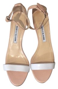 Manolo Blahnik nude and white Pumps