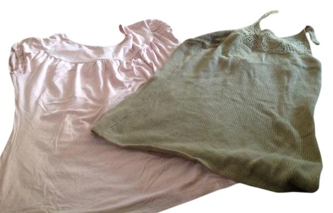 Item - Pink and Green Two One Price. T Shirt Halter Top Size 10 (M)