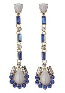 Kate Spade Kate Spade Gold Filled Sunrise Cluster Pearl Crystal Long Earrings Wbru8200