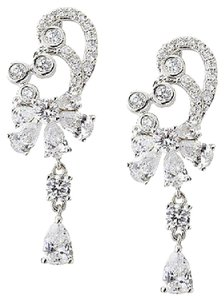 Kenneth Jay Lane Cz Kenneth Jay Lane Cubic Zirconia Fan Deco Swirl Red Carpet Clip Earrings