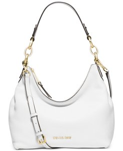 Michael Kors Isabella Leather Satchel in Optic White