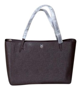 Tory Burch Leather Gold Hardware Buckle Scratch-resistant Roomy Tote in Dark Walnut (Brown)