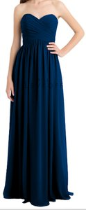 Bill Levkoff Navy Chiffon Gown With A Sweetheart Neckline Dress