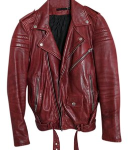 BLK DNM Leather Motorcycle Biker Berry Red Leather Jacket