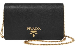 Prada Leather Chain Gold Shoulder Bag