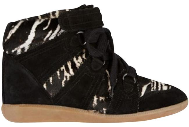 Item - Black with Black and White Calf Hair Blossom Wedge Sneakers Size EU 36 (Approx. US 6) Regular (M, B)