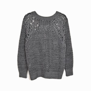 Sandro Open Knit Mesh Crewneck Sheer Sweater