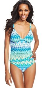 Kenneth Cole Reaction Kenneth Cole Royal Blue Zig Zag Printed Tankini Swimsuit Set M