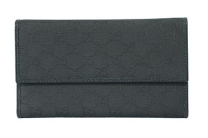Gucci NIB GUCCI 257303 GG Canvas Trifold Wallet, Black