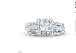 Zales 2 Ct. Quad Princess Cut Diamond 3 Piece Set 14k White Gold
