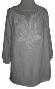 Tantrums Longsleeve Sequence Top White with embroidery