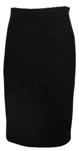 Bottega Veneta Veneta Striped Wool Pencil Skirt Black