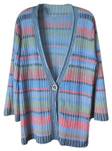Coldwater Creek Striped Single Button Belled Sleeves Cardigan