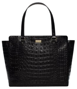 Kate Spade Croc Embossed Leather Polished Work Tote in Black