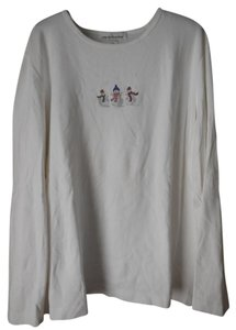 Jones New York Snowman Novelty Theme Longsleeve Cotton T Shirt White