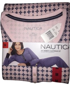 Nautica Pajama Set Pj's Plush Soft Warm Button Down Shirt pink
