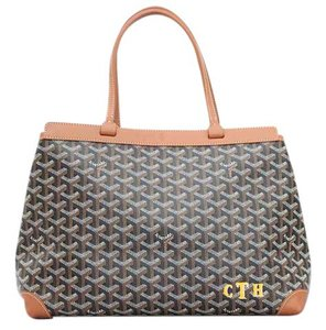 Goyard Bellechasse Pm Chevron Tote in Brown with black, white, brown