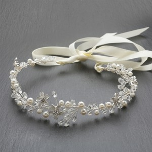 Mariell Silver Designer Handmade Headband with Dainty Floral Vines 4564hb-i-s Hair Accessory
