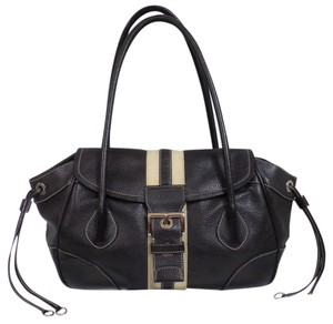 Prada Leather Front Flap Satchel in Black
