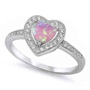 9.2.5 Unique pink fire opal silver heart ring size 7