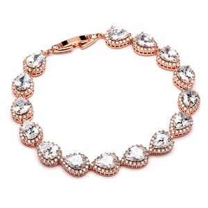Mariell Petite Size Cz Framed Pears Bridal Or Bridesmaids Rose Gold Bracelet 4