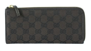 Gucci GUCCI 268917 GG Jacquard Zip around Wallet, Brown/Black