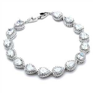 Mariell Silver Petite Size Cz Framed Pears Or Bridesmaids 4562b-s-6 Bracelet