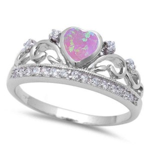 9.2.5 Unique pink fire opal crown heart ring size 8