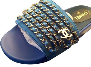 Chanel Runway Sandals Blue Bright Blue Mules