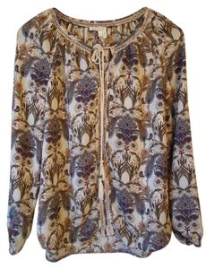 Anthropologie Paisley Ivory Tassels Meadow Rue Tunic