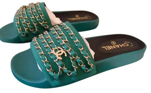 Chanel Runway Sandals Green Mules