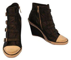 Ash Buckle Sneakers Leather Wedge Black Boots
