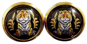 Hermès Auth Hermes Tigre Royale Royal Tiger Black Enamel Clip Earrings Rare