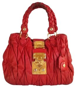 Miu Miu Leather Pleated Gold Hardware Braided Silk Satchel in Red