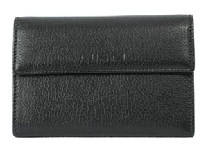 Gucci GUCCI 346057 Leather French Wallet, Black