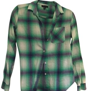 American Eagle Outfitters Flannel Buttons Button Down Shirt Green