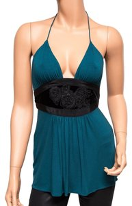 Ingwa Melero 15 Tst Rayon Velvet Embroidered Blue Halter Top