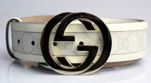 Gucci Interlocking G Canvas and Leather Guccissima Belt