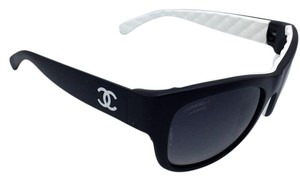 Chanel Chanel Quilting Matte Black and White Polarized Sunglasses 6049