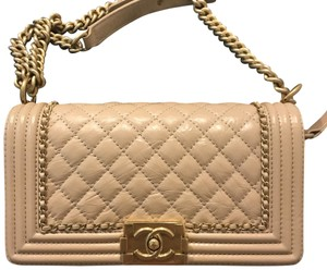 Chanel Boy Calfskin Old Medium White Cream Shoulder Bag