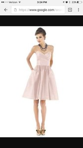 Alfred Sung Blush Dupioni Cocktail Length D540 Formal Bridesmaid/Mob Dress Size 8 (M)