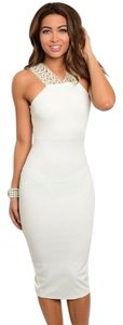 A'GACI Embellished Rhinestones Beaded Bodycon Midi Dress